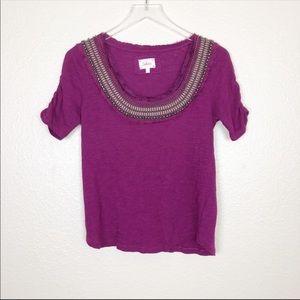 Anthro | deletta purple bejeweled beaded top